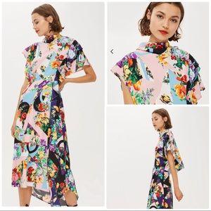 Topshop Abstract Floral Print Cowl Back Midi Dress